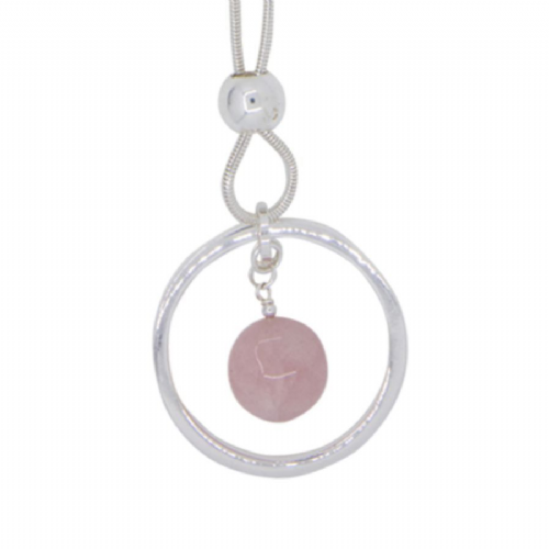 Rose Quartz Charm in Circle Long Necklace